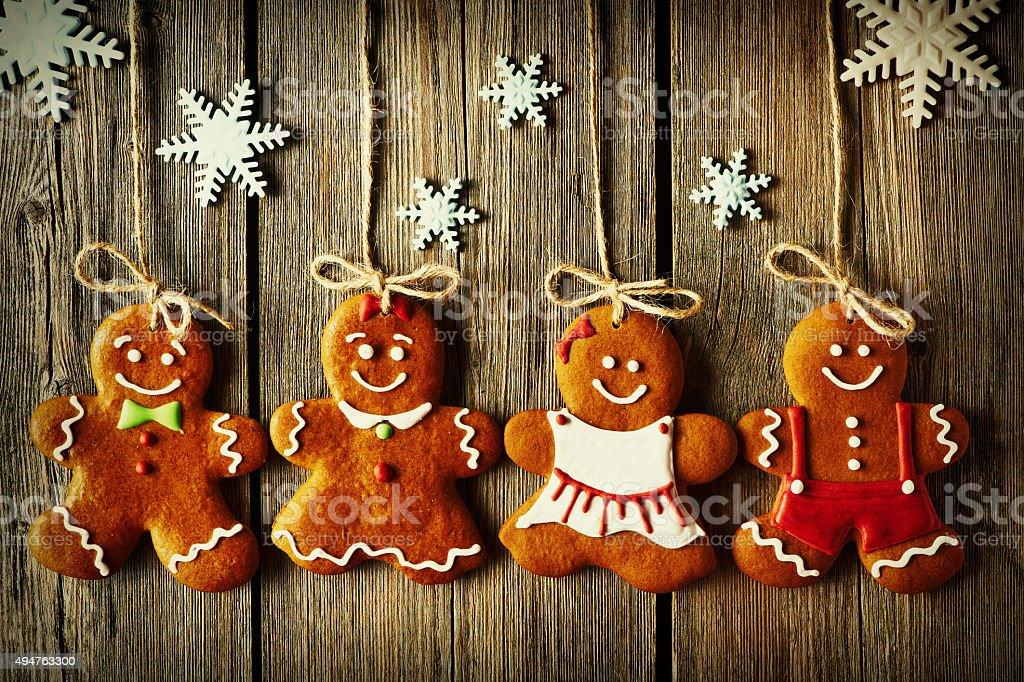 Christmas homemade gingerbread couple cookies stock photo