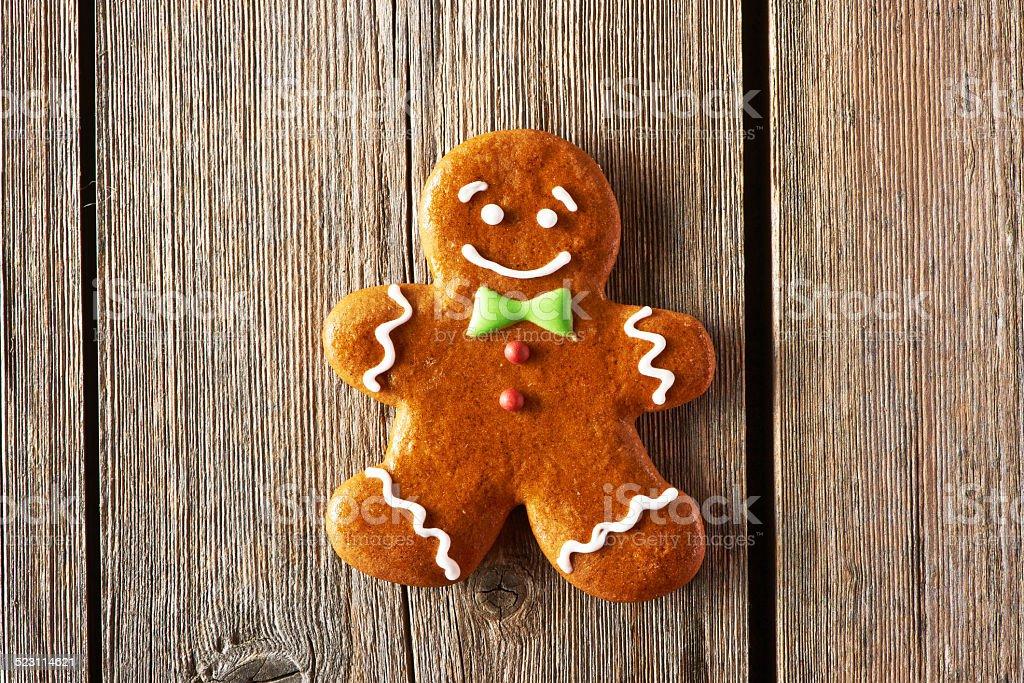 Christmas homemade gingerbread man cookie stock photo