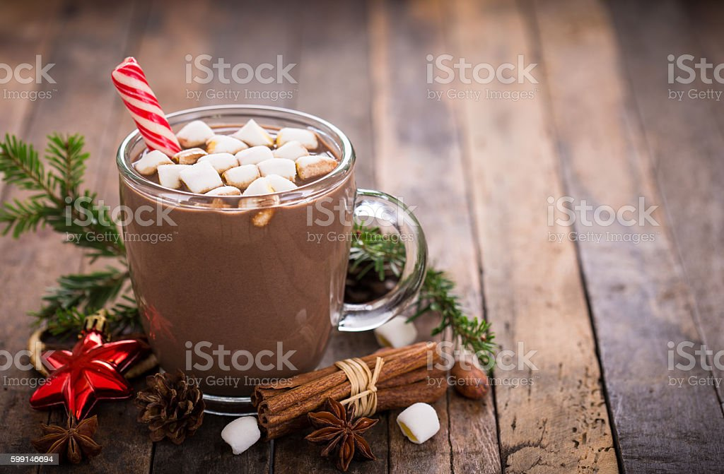 Christmas hot chocolate with marshmallow stock photo