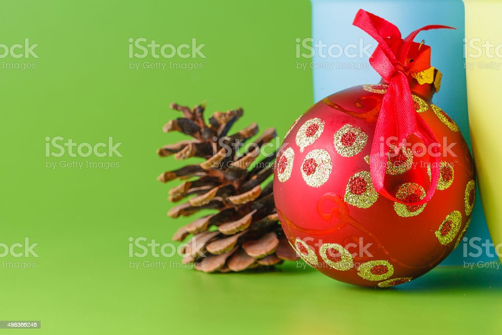 Christmas hot drink with red ball stock photo