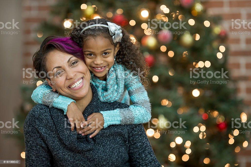 Christmas Hug stock photo