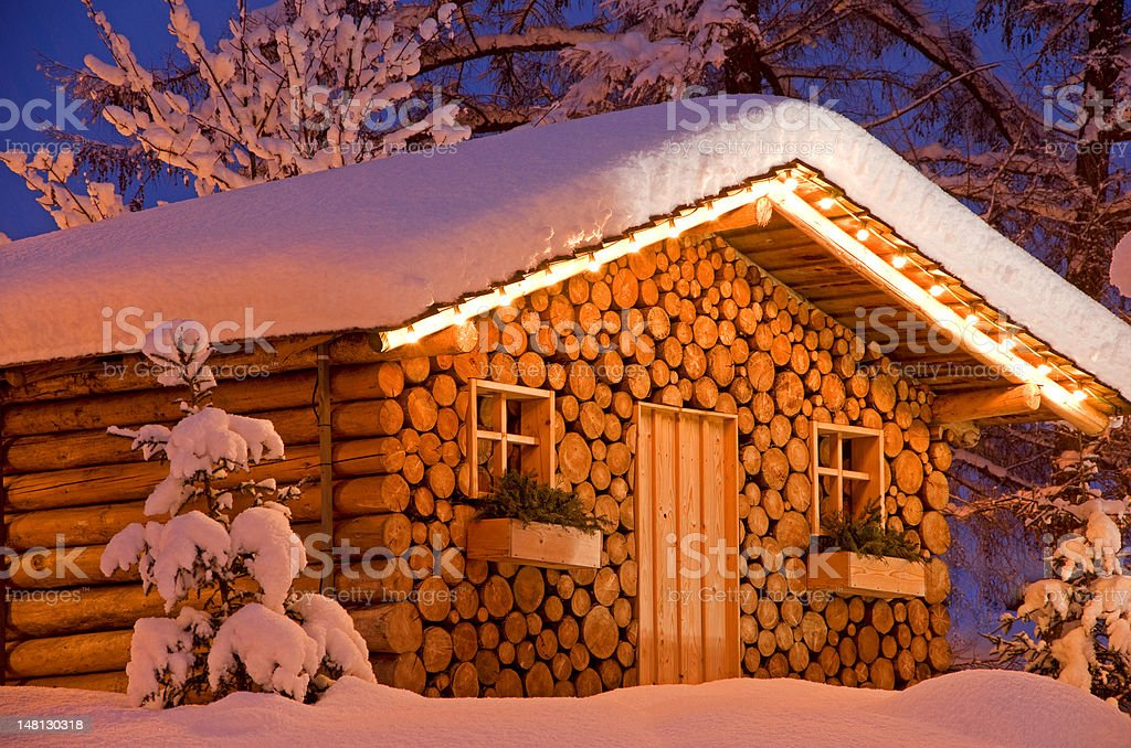 christmas hut in winter royalty-free stock photo