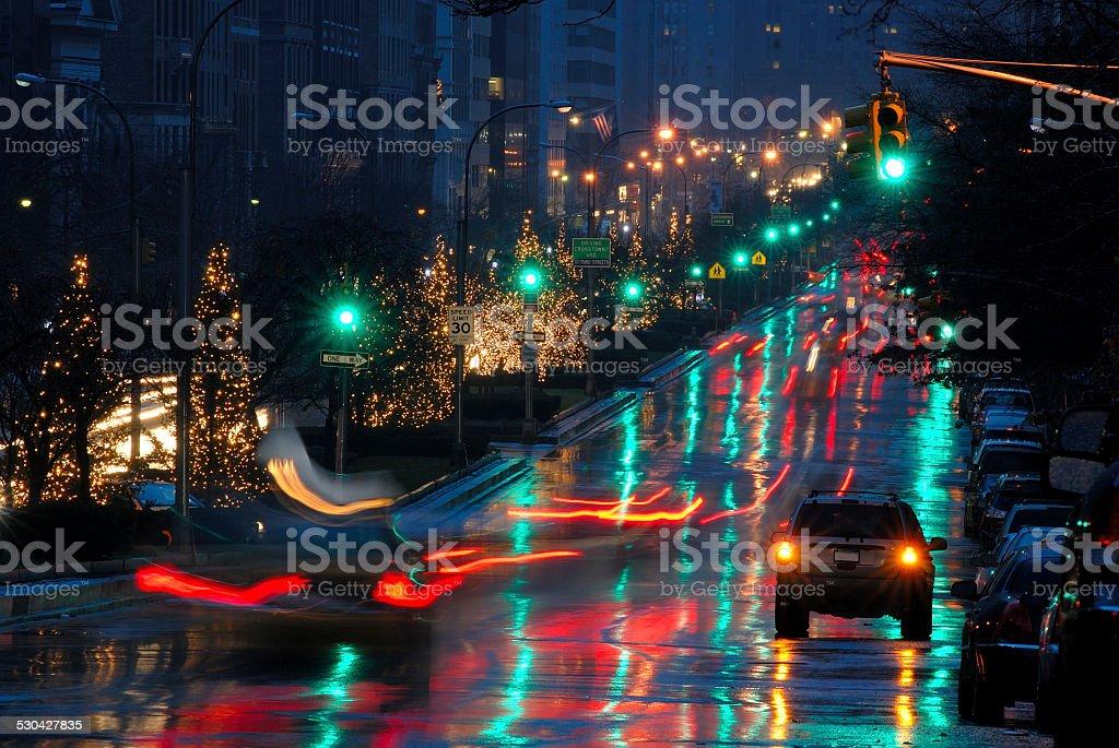 Christmas illumination at night along Park Avenue, Manhattan, Ne stock photo