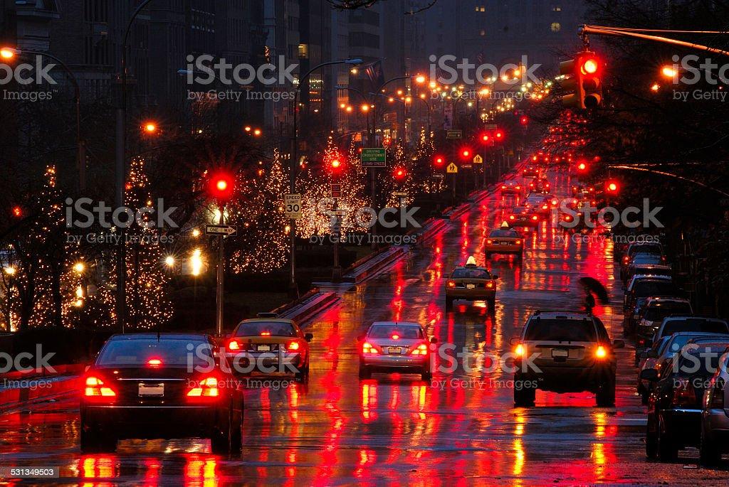 Christmas illumination at night along Park Avenue, Manhattan, New York stock photo