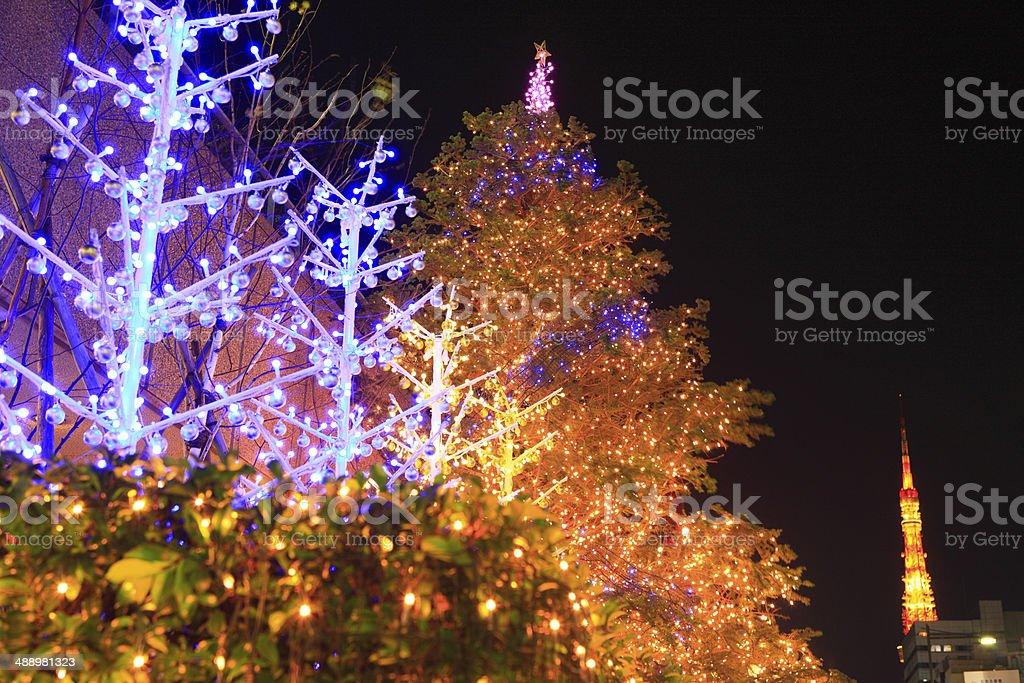 Christmas illuminations of Hamamatsucho stock photo