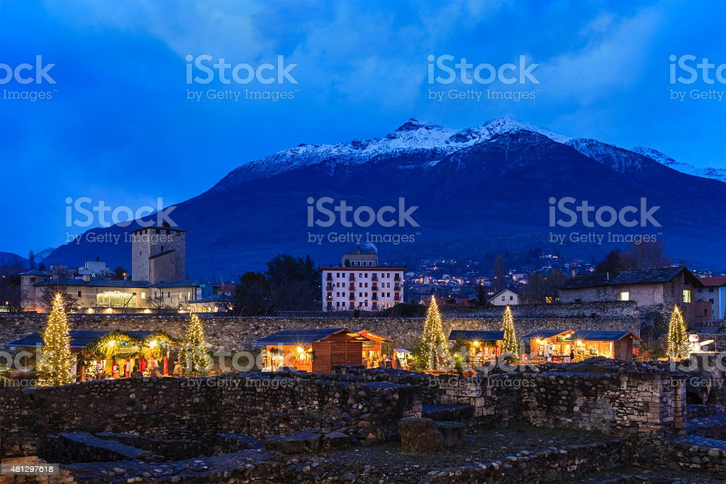Christmas in Aosta, Italy stock photo