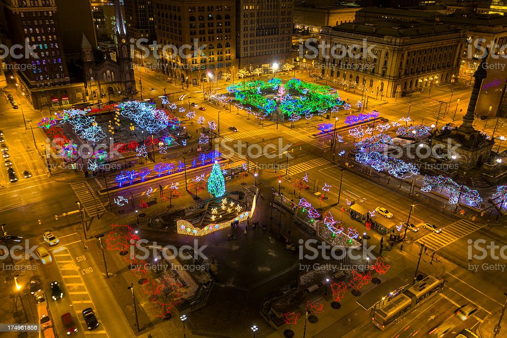 Christmas in Cleveland, Ohio stock photo