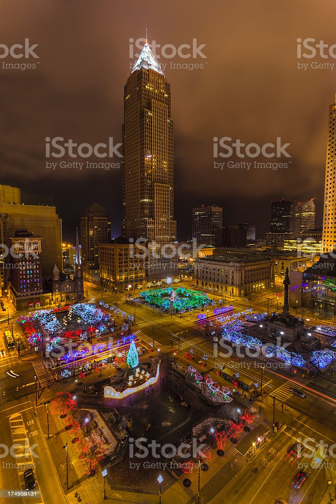 Christmas in Downtown Cleveland, Ohio stock photo