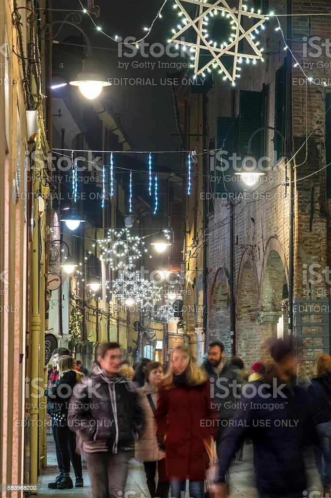 Christmas in Ferrara, Old Town - Italy stock photo