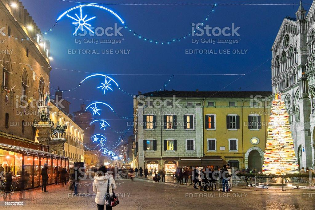 Christmas in Ferrara, Piazza della Cattedrale - Italy stock photo