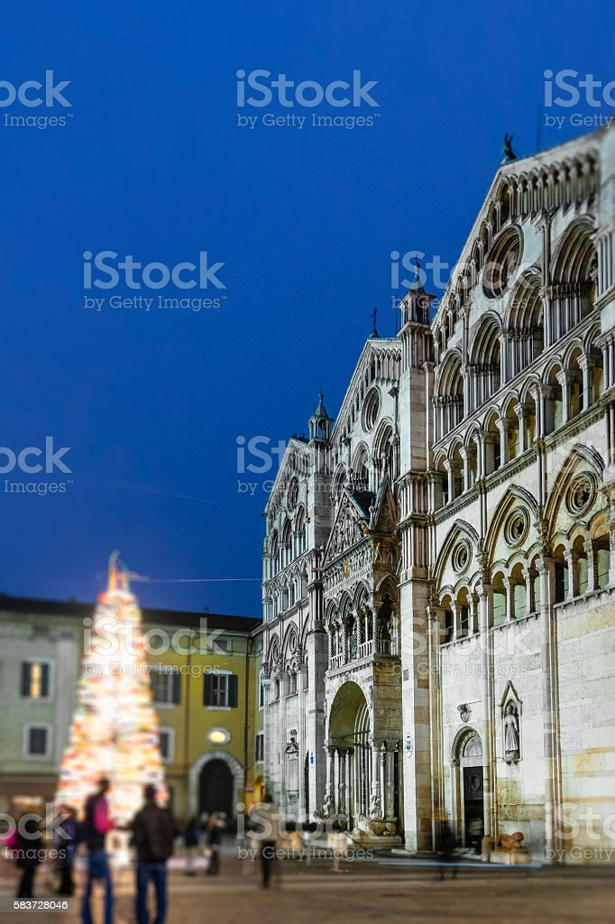 Christmas in Ferrara, the Cathedral - Italy stock photo