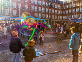 Christmas in Madrid. Giant soap bubble on Plaza Mayor