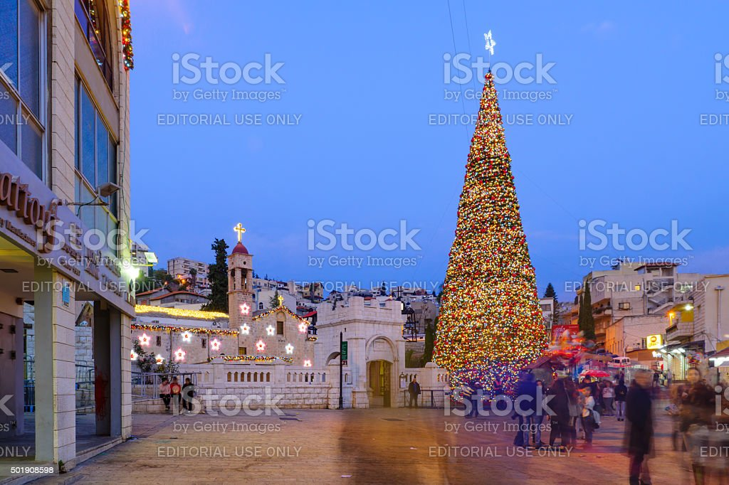 Christmas in Mary's Well Square, Nazareth stock photo