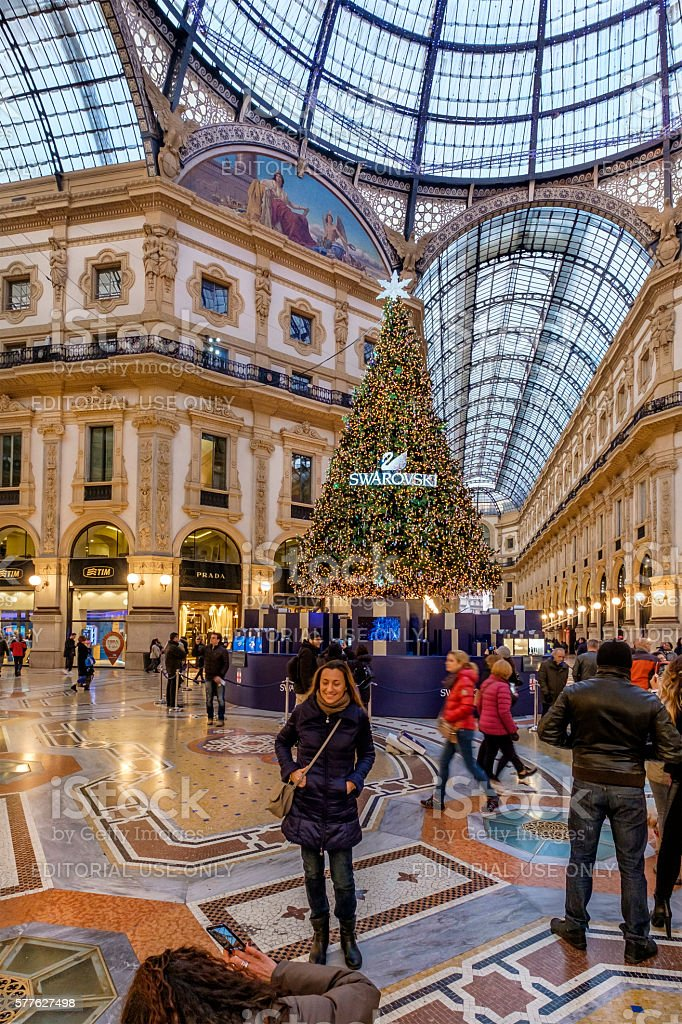 Christmas in Milan, Galleria Vittorio Emanele II - Italy stock photo