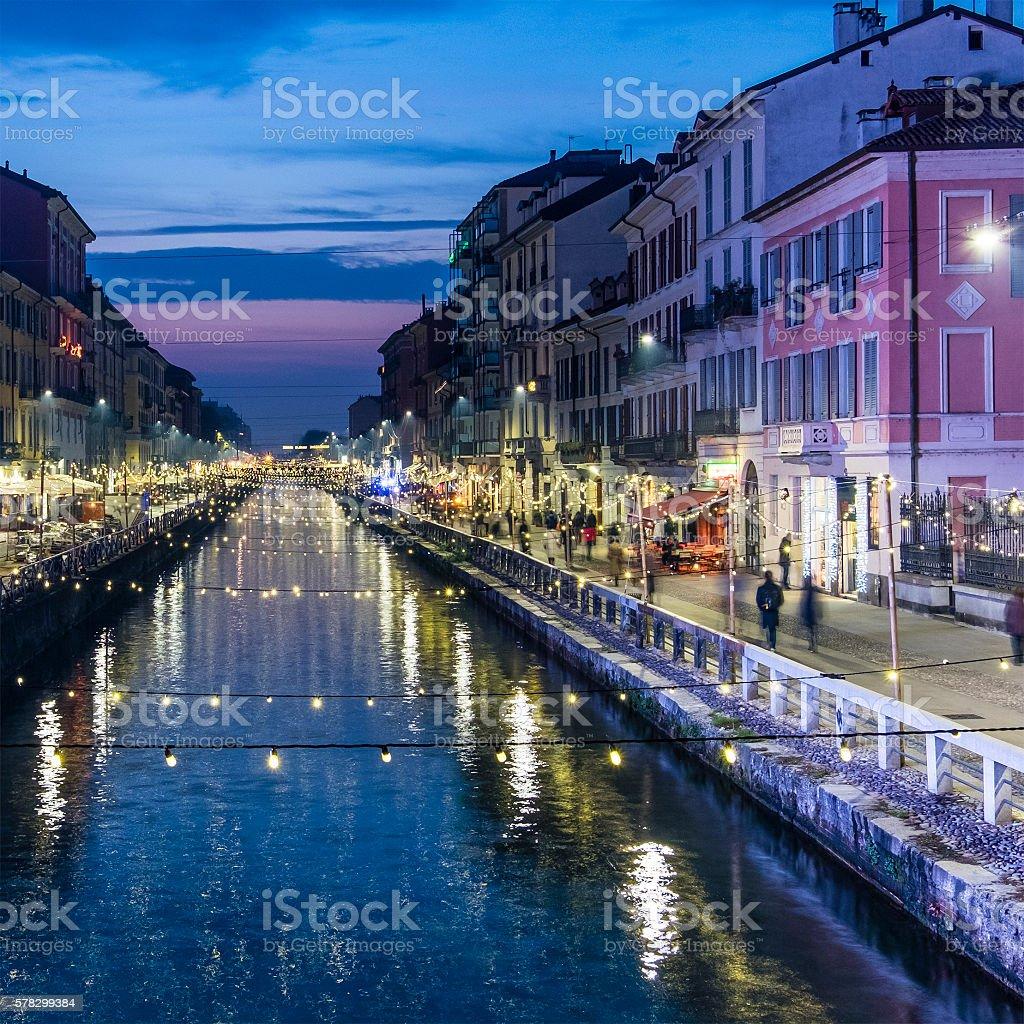 Christmas in Milan, Naviglio Grande - Italy stock photo