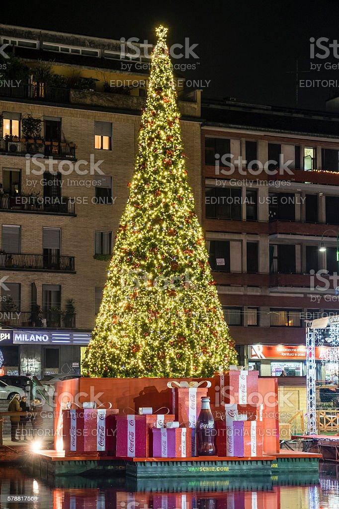 Christmas in Milan, the Darsena - Italy stock photo