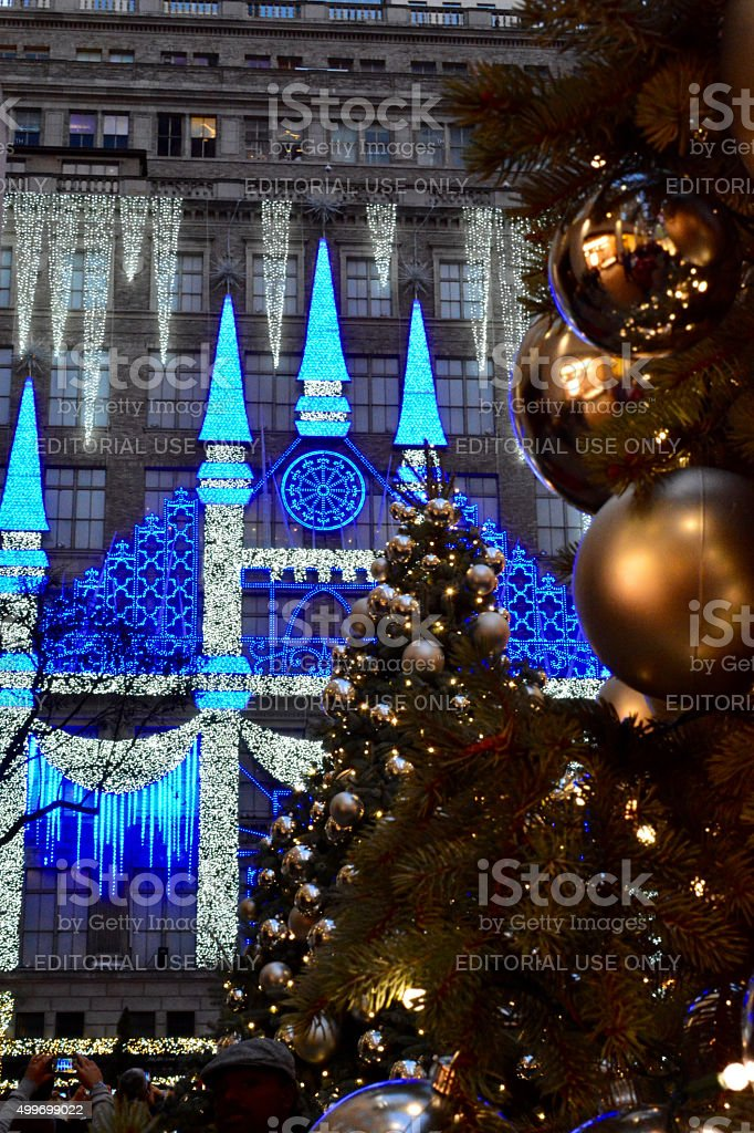 Christmas in new york Christmas Tree with view of Saks stock photo