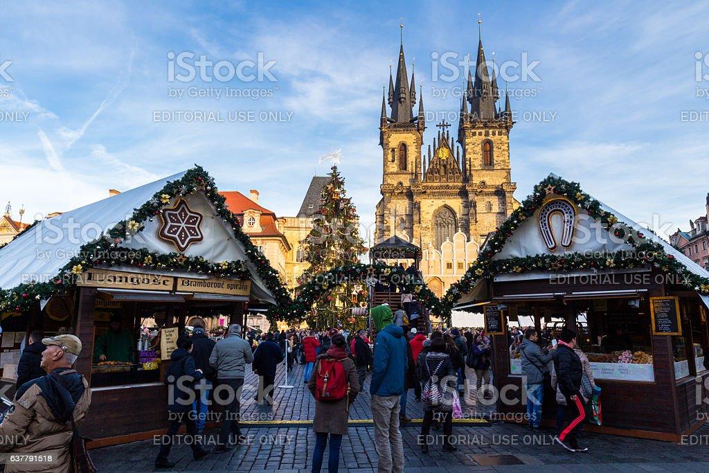 Christmas in Oldtown square (czech: Staromestske namesti) stock photo