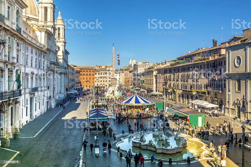 Christmas in Piazza Navona, Rome stock photo