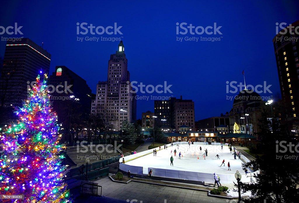 Christmas in Providence Rhode Island stock photo