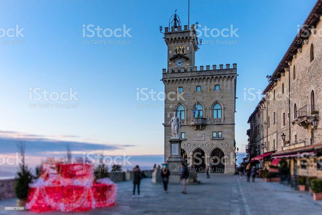 Christmas in San Marino, Piazza della Libertà stock photo