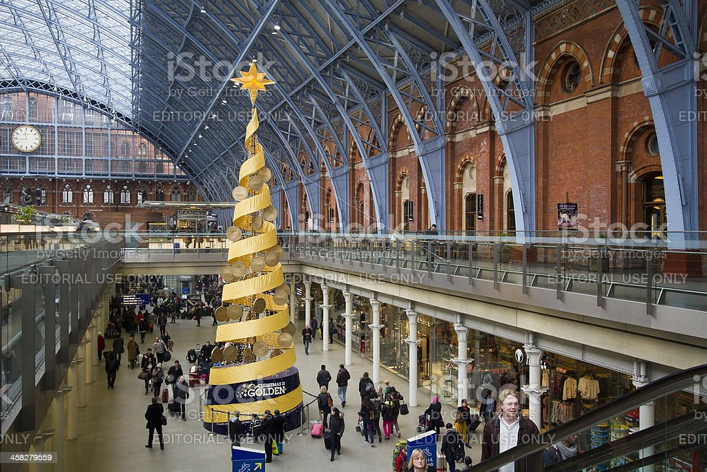 Christmas in St. Pancras Railway station London, UK royalty-free stock photo