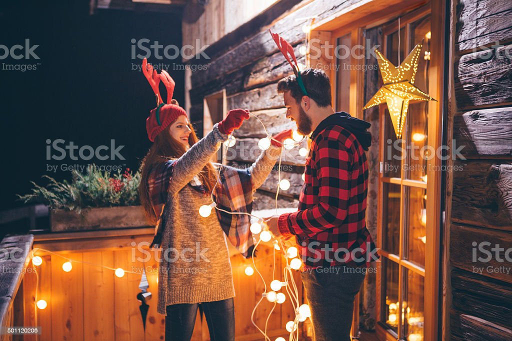 Christmas in the mountains house. stock photo