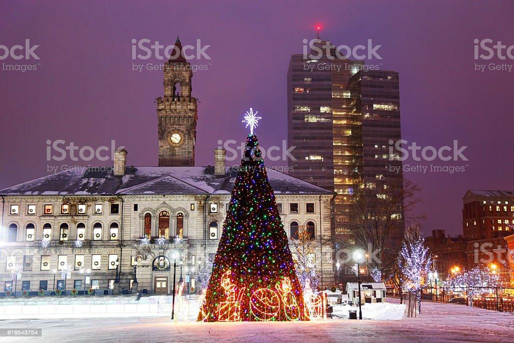 Christmas in Worcester, Massachusetts stock photo