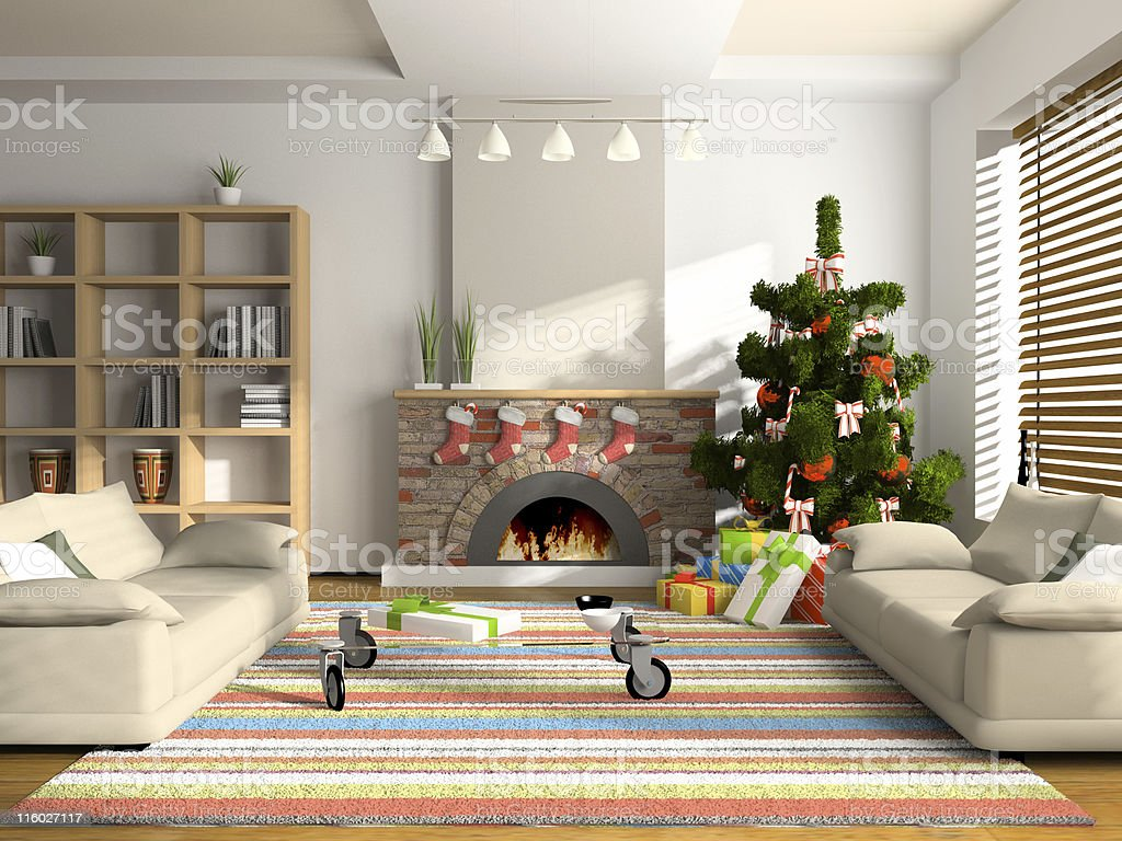 Christmas interior 3D rendering royalty-free stock photo