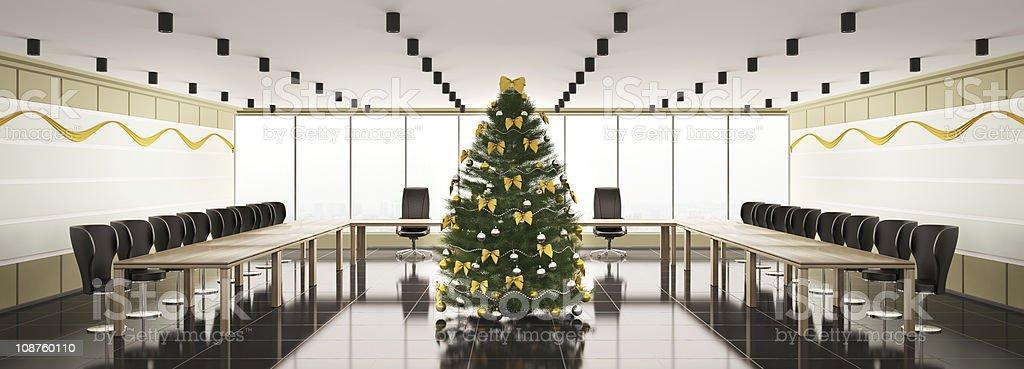 Christmas interior of modern boardroom panorama 3d royalty-free stock photo