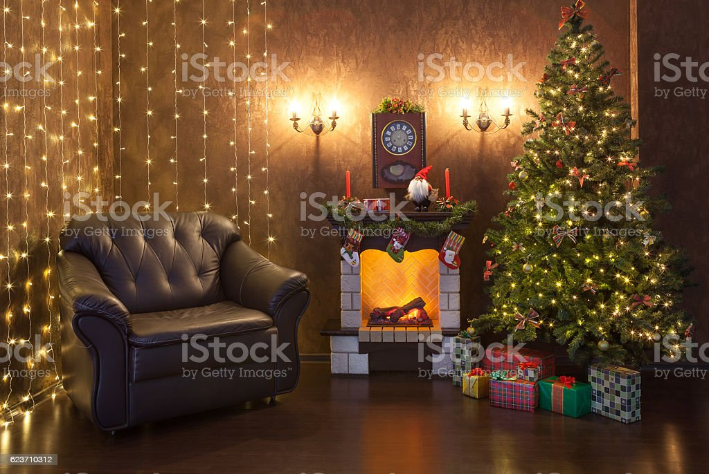 Christmas interior of the house in the evening. stock photo