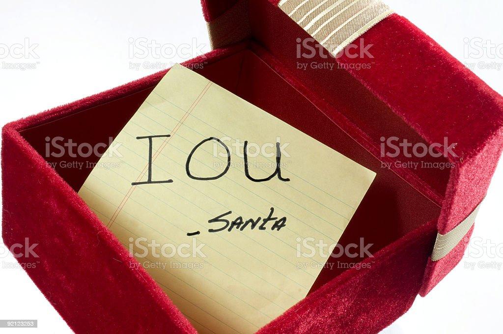 Christmas IOU stock photo