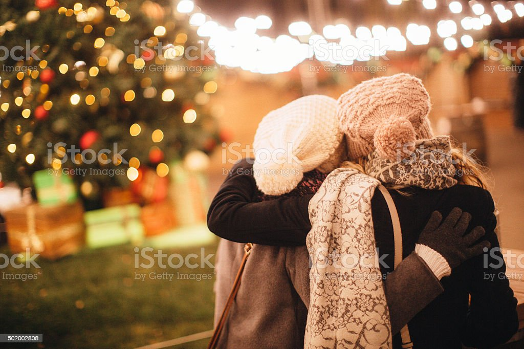 Christmas is all about friends and family stock photo