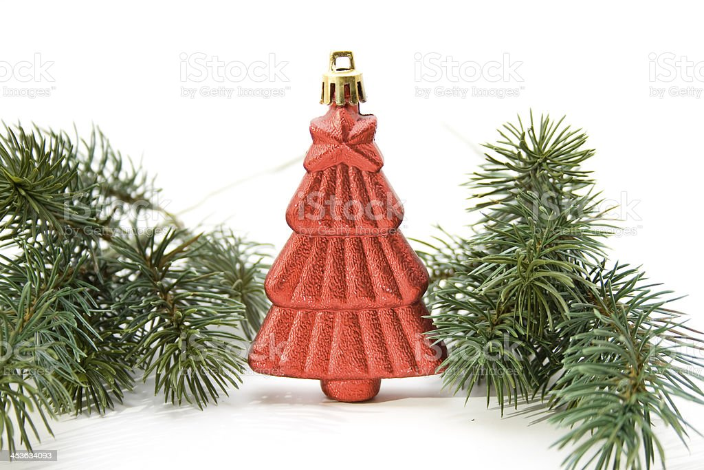 Christmas jewellery with fir branches stock photo