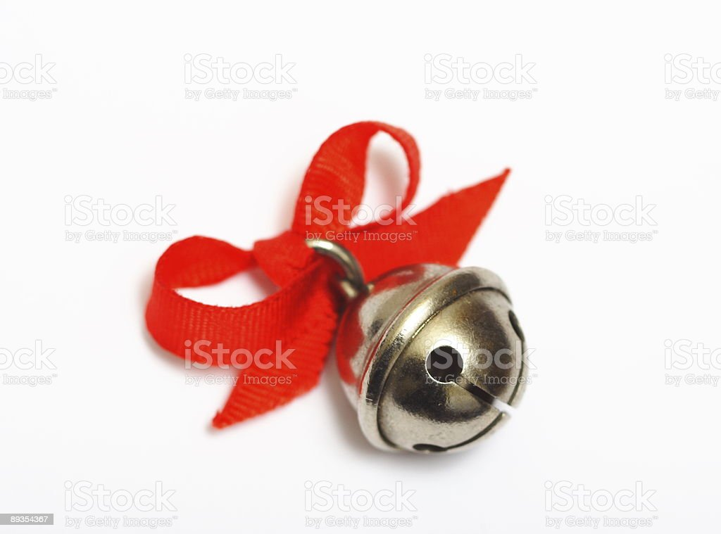 Christmas jingle bell on white background stock photo
