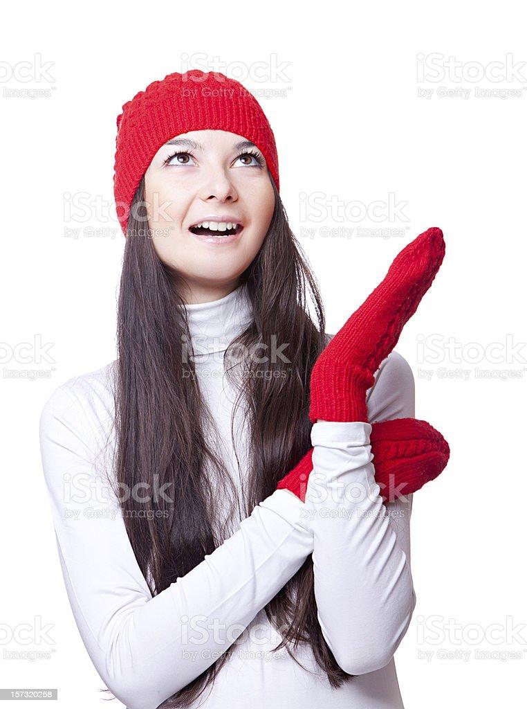 Christmas joyful woman in red cap royalty-free stock photo