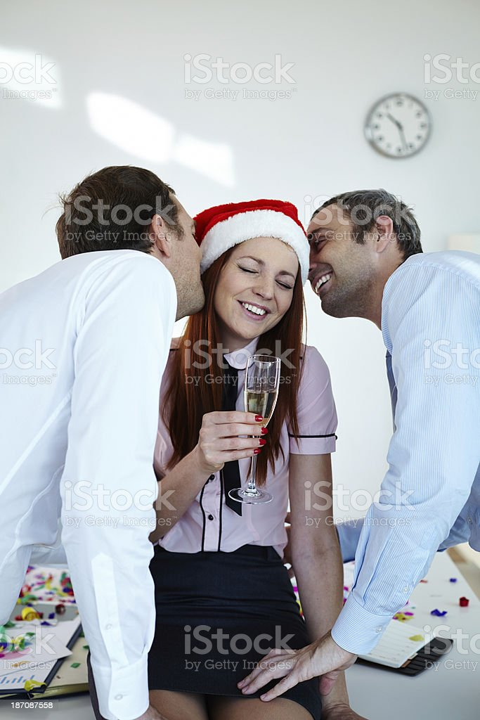 Christmas kiss royalty-free stock photo