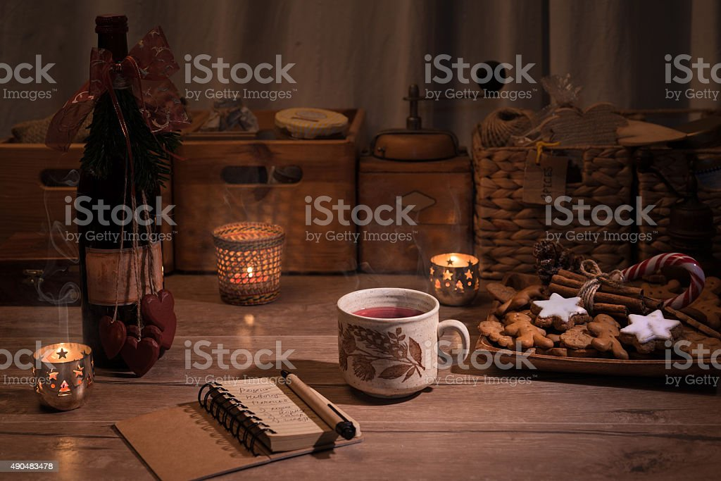 Christmas kitchen with mulled wine and cookies stock photo