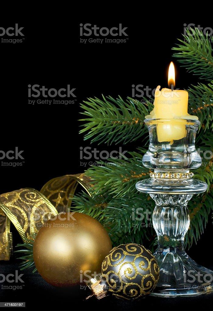 Christmas kompozitsmya with a burning candle royalty-free stock photo