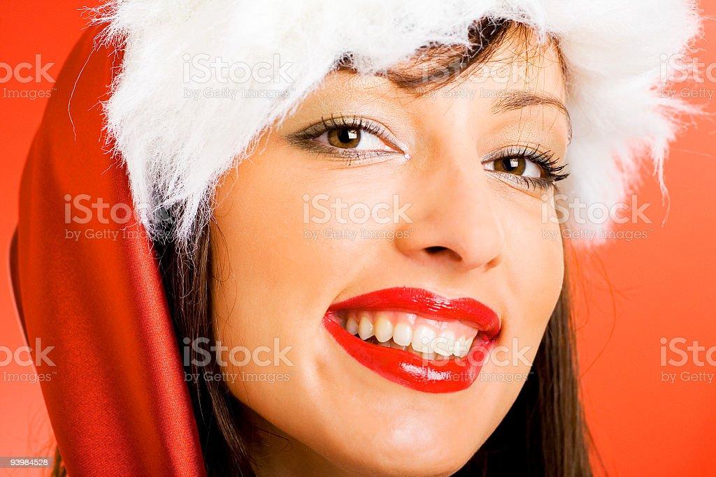 Christmas lady smiling royalty-free stock photo