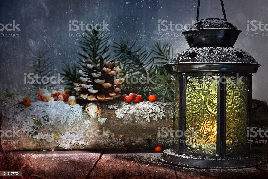 Christmas lamp and natural Christmas decorations stock photo