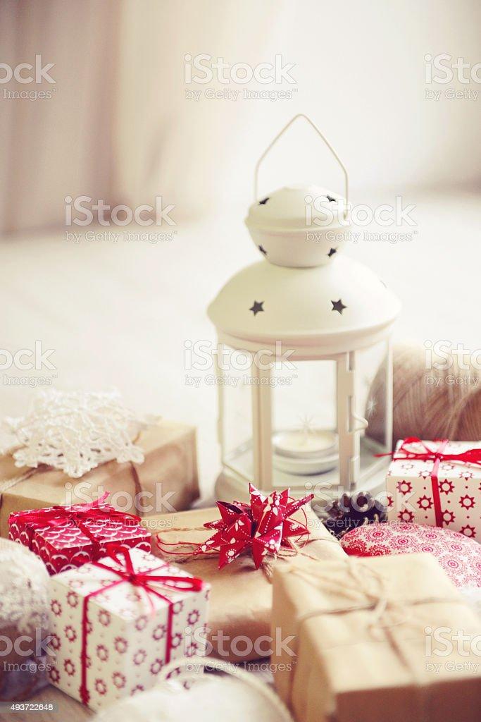Christmas lantern and gift boxes stock photo