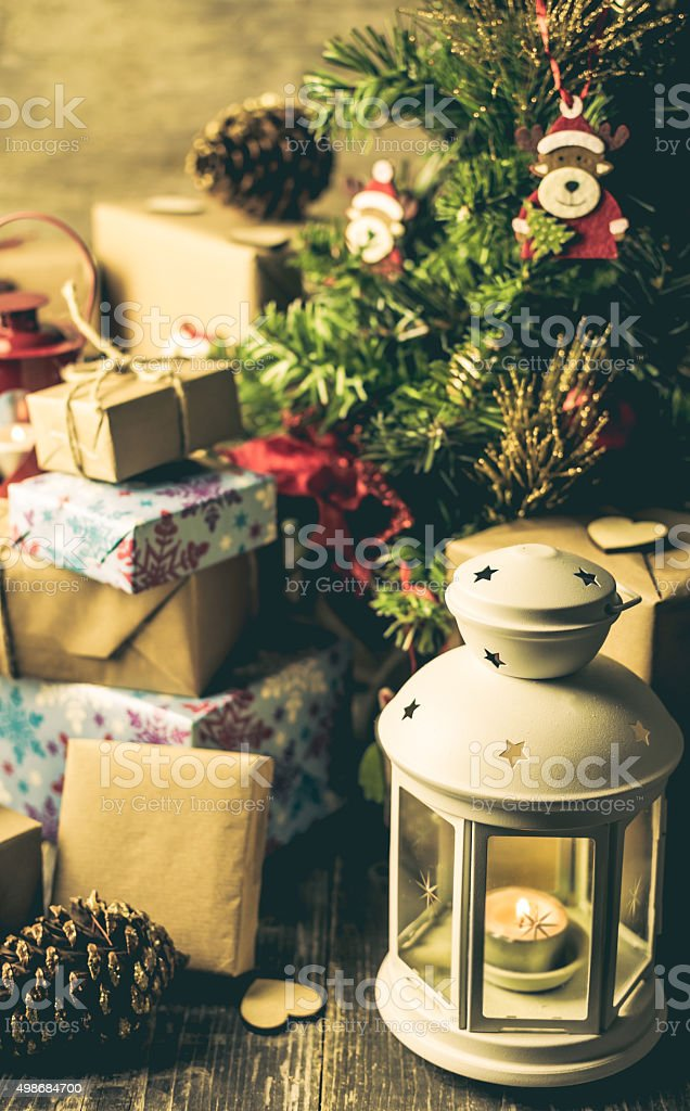 Christmas Lantern, Christmas Gifts, Christmas Tree stock photo