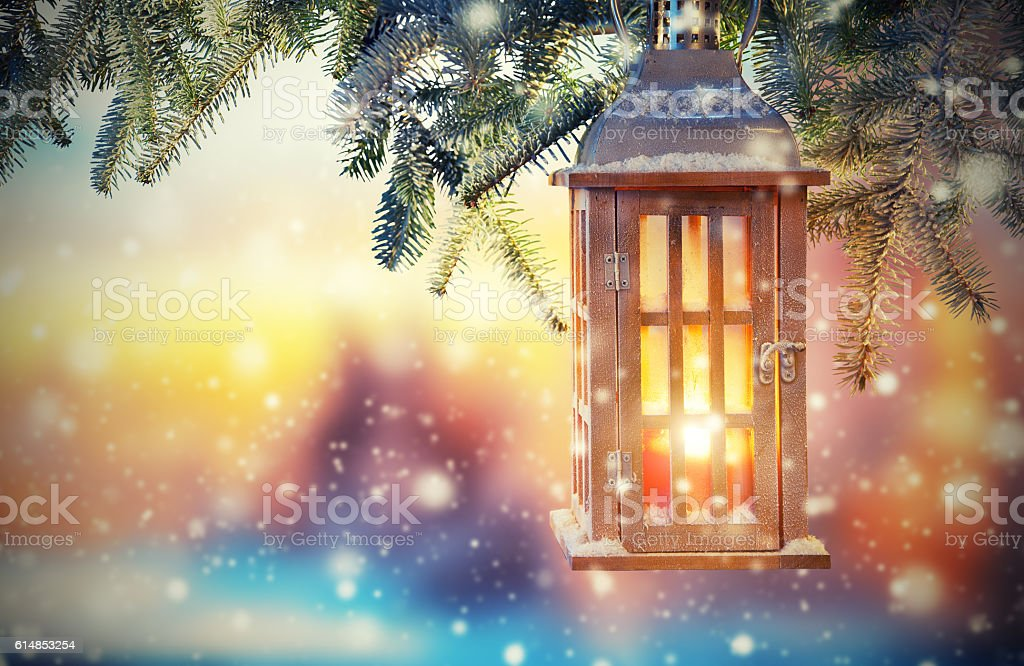 Christmas lantern in sunset light stock photo