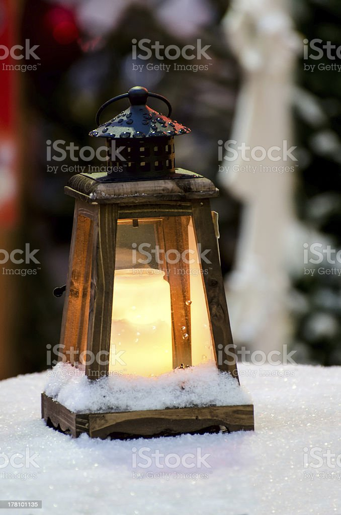 Christmas lantern with a candle. royalty-free stock photo