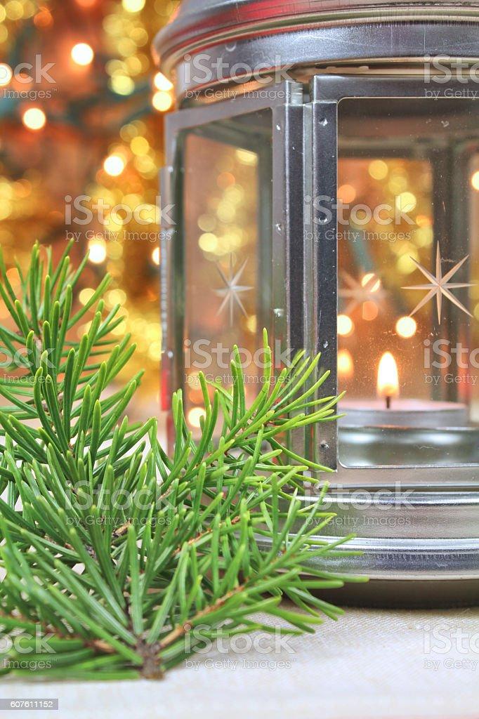 Christmas lantern with tealight stock photo