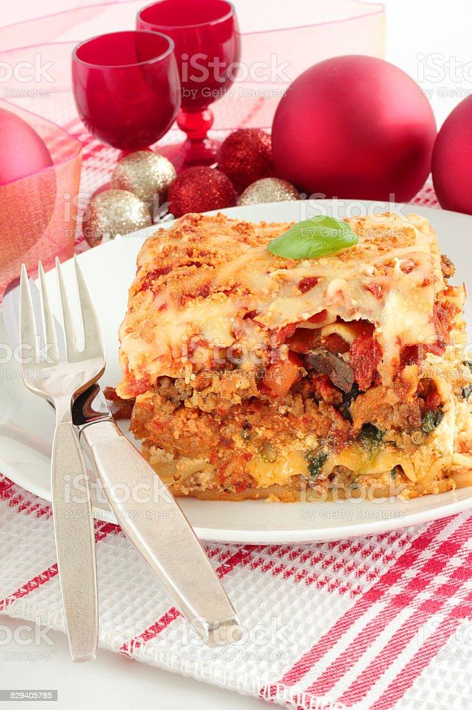 Christmas lasagna stock photo