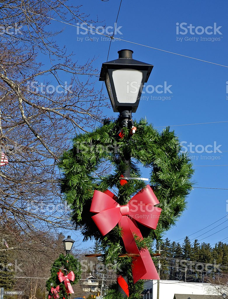 christmas light in a small mountain town royalty-free stock photo