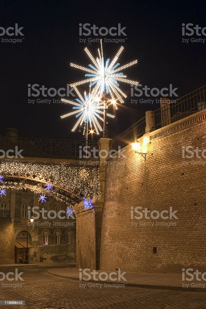 christmas light in town royalty-free stock photo