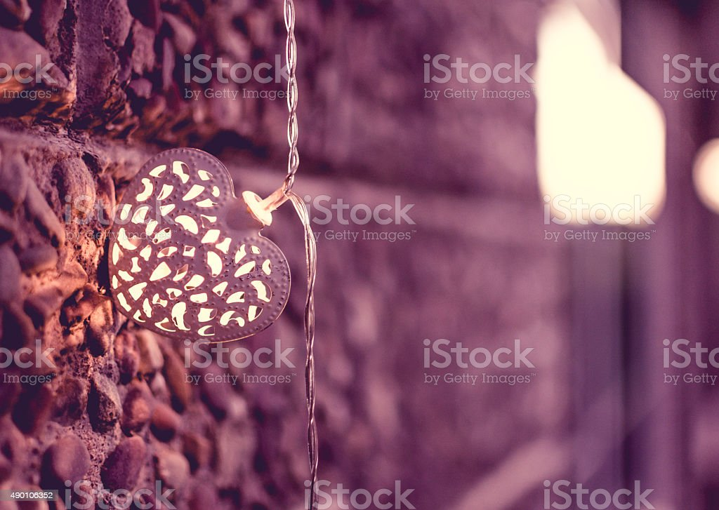 Christmas Light on the Wall, Vintage Look stock photo